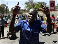 Protesters march towards the rally in Nairobi