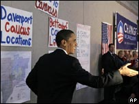 Democratic contender Barack Obama campaigning in Iowa