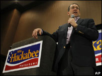 Republican Mike Huckabee campaigning in Iowa on 3 January