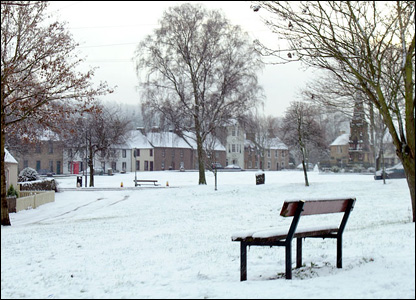 The picturesque village green in Denholm, with its first covering of snow this year. By Jane Currie.