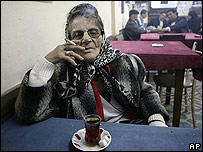 Smoker in an Istanbul tea house
