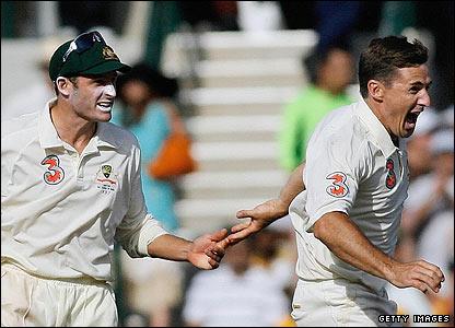 Australia's Brad Hogg celebrates