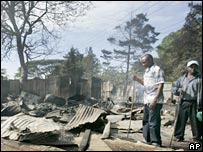 Kenya kiosks burned out