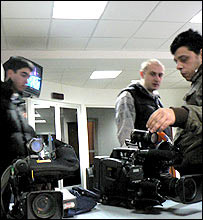 TV cameramen at the offices of Rustavi-2