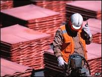 Worker in copper factory