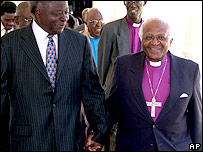Mwai Kibaki and Archbishop Tutu on Friday