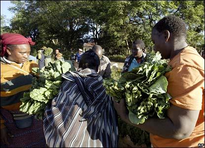 Kenyans buying Kale by the roadside