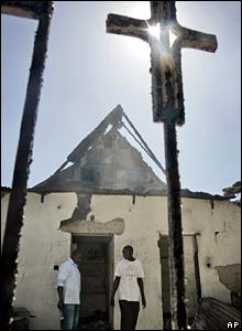Burnt-out remains of Kibera Lutheran church