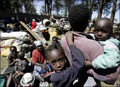 Displaced people outside air force base in Mathare slum, Nairobi