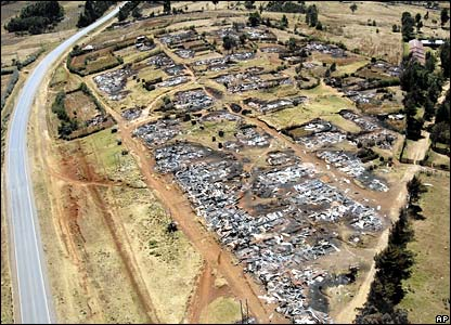 Aerial view of burnt homes outside of town of Burnt Forest near the western town of Eldoret