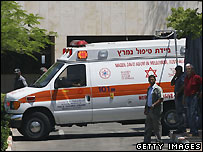 Ambulance carrying Ariel Sharon to Tel Hashomer medical centre near Tel Aviv