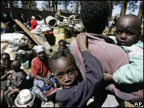 Family displaced by violence in Kenya