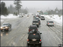 Snow hits the Interstate 50 highway in the Sierra Nevada