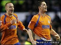 Oldham's Gary McDonald celebrates his stunning strike at Everton