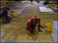 Archaeologists at work in Salisbury Cathedral