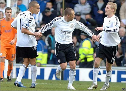 Derby celebrate their first goal