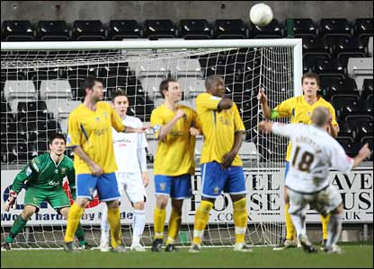 Andy Robinson's free-kick breaks the deadlock in Swansea's third round FA Cup tie at home to Havant & Waterlooville
