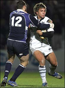 Ospreys centre Gareth Owen is tackled by Leinster's Felipe Contepomi in Saturday's Magners League meeting