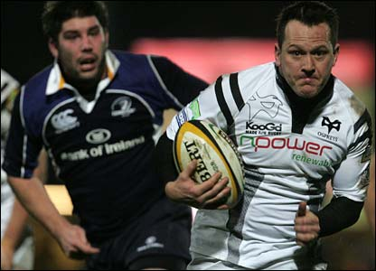 Ospreys fly-half Shaun Connor slices through the Leinster defence to score Ospreys' first of two tries