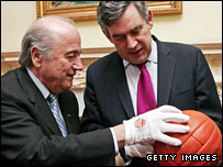 Sepp Blatter and Gordon Brown