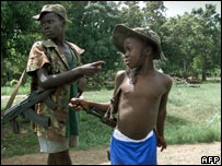Child soldiers in Sierra Leone in May 2000