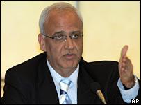Palestinian negotiator Saeb Erekat. File photo