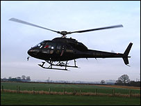 Helicopter during power line inspection