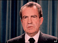 Richard Nixon after making his resignation speech in August 1974
