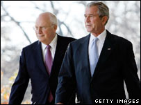 Vice President Dick Cheney (left) and President George W Bush (right) in a photo from December 2007