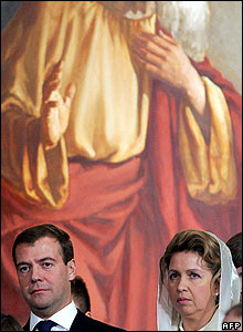 Dmitry Medvedev and his wife Svetlana attend a service in Moscow's Christ The Saviour Cathedral