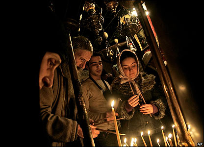 Orthodox worshippers in the Church of the Nativity, Bethlehem