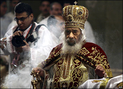 Pope Shenouda III, head of Egypt's Coptic Orthodox Church, leads prayers in Cairo