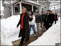 Hillary Clinton campaigning in New Hampshire