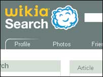 Screengrab of Search Wikia homepage, Wikimedia Foundation