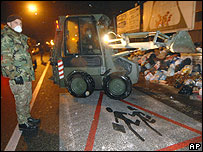 Italian army clearing rubbish in Caserta, on edge of Naples