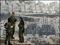 Israeli soldiers near Har Homa settlement