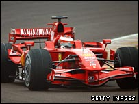 Kimi Raikkonen tests the Ferrari F2008.