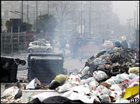Burning rubbish in Naples