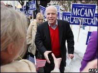 Senator John McCain out campaigning in New Hampshire