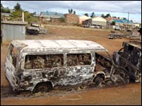 burned-out minibus