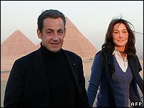 French President Nicolas Sarkozy and girlfriend Carla Bruni in Egypt, 30 Dec 07