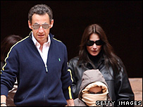 President Nicolas Sarkozy with Carla Bruni and her son Aurelien Enthoven in Jordan
