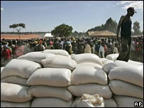 sacks of food arrive to be distributed in Noigam