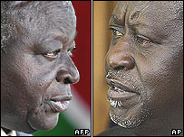 Mwai Kibaki (left) and Raila Odinga
