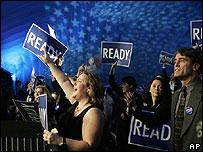 Electores durante una intervención de Hillary Clinton en New Hampshire