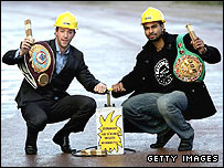 Enzo Maccarinelli (left) and David Haye