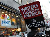 Striking writers picket in front of NBC studios in New York City