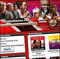 Screen grab of trinidadtunes.com website