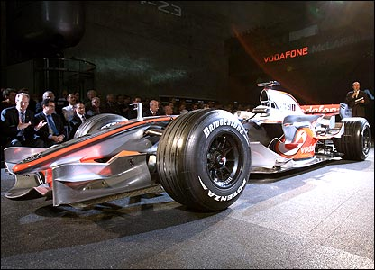 McLaren's new MP4-23 car for the 2008 season