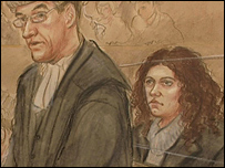 Artist's impression of William Davis, prosecuting, and Kate Knight in court